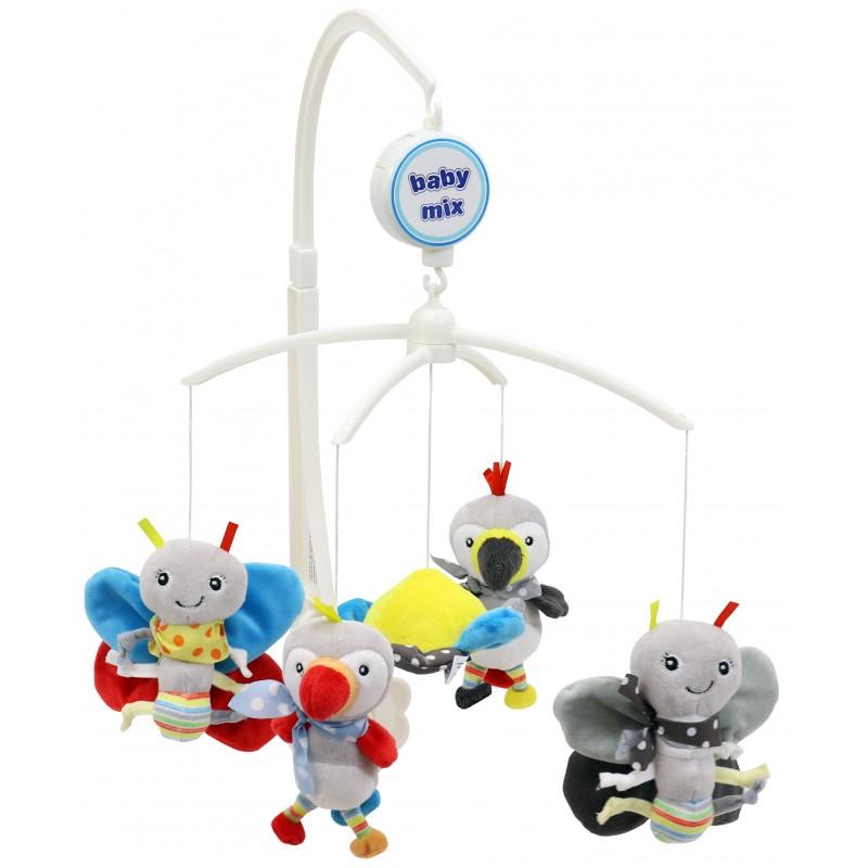 Каруселька с плюшевыми игрушками BabyMix Попугаи и бабочки Арт.475М