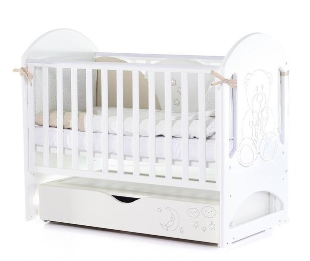 Детская кроватка с маятником поперечного качания ВЕРЕС Соня ЛД8 (белый) Мишка со стразами Swarovski