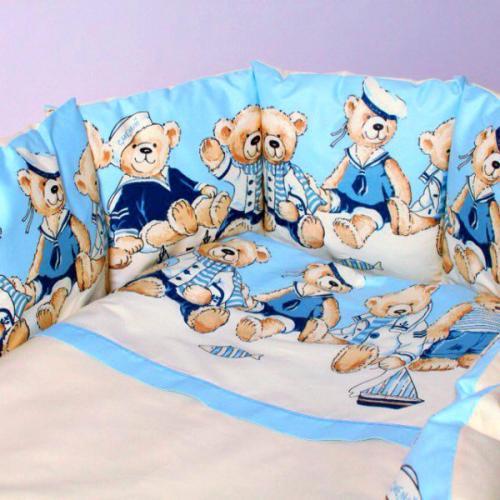 Детское постельное белье в круглую-овальную кроватку Lappetti Морячки