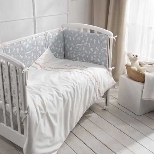 Детское постельное белье Perina Toys Зверушки голубые 6 предметов