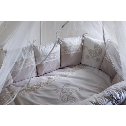 Детское постельное белье в круглую-овальную кроватку Lappetti Колясочка 6 предметов