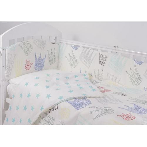 Комплект детского постельного белья Топотушки Фантазия Короны бирюза 6 предметов