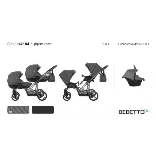 Детская модульная коляска для двойни Bebetto 42 comfort 2 в 1
