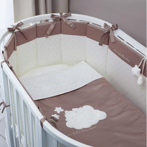 Комплект постельного в круглую/овальную кроватку Perina Бамбино (Капучино) Oval 6 предметов