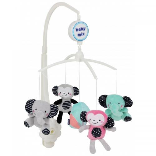 Каруселька с плюшевыми игрушками BabyMix Cлоны и обезьянки Арт.TK/494М