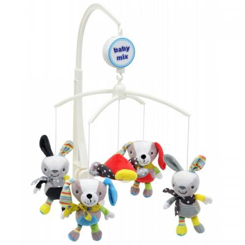 Каруселька с плюшевыми игрушками BabyMix Зайки и собачки Арт.474М